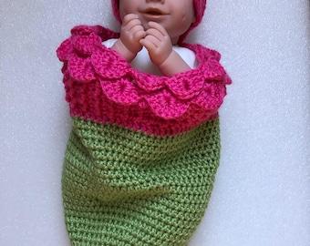 Crochet Newborn Cocoon Tulip, Photo Prop, Baby Cocoon, Baby Sack, Cuddle Sack, Newborn Photography, Baby Hat
