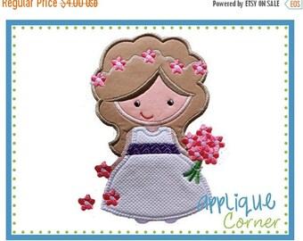 50% Off Flower Girl applique digital design for embroidery machine by Applique Corner