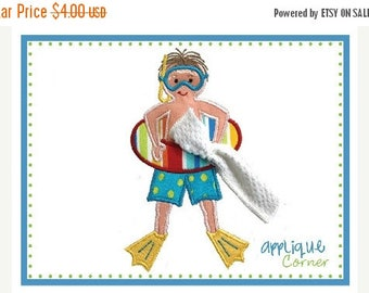 40% OFF INSTANT DOWNLOAD Swim Boy Standing applique design in digital format for embroidery machine by Applique Corner