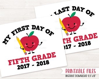 PRINTABLE First Day of FIFTH GRADE Sign, First Day of School Sign, Back to School Sign, Last Day of School Printable Sign, Instant Download