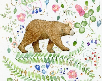 bear walking among the flowers original watercolor painting 12 x 12