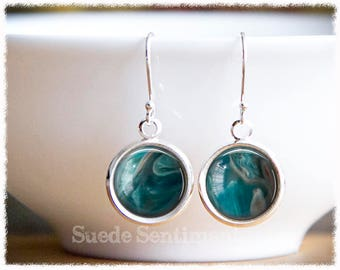 Marble Earrings Dangle • Marble Jewelry • Teal Drop Earrings • Imitation Marble • Teal Earrings
