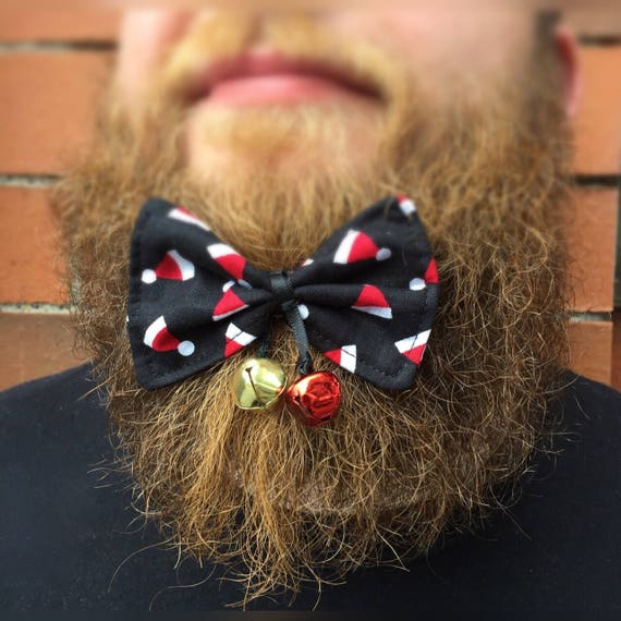 Christmas Jingle Bell Beard Bow Tattoo Rockabilly