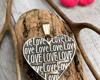 Love Heart pendant. Sterling silver and goldfield.