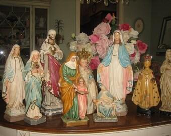 set of 9 vintage religious figurines / statues