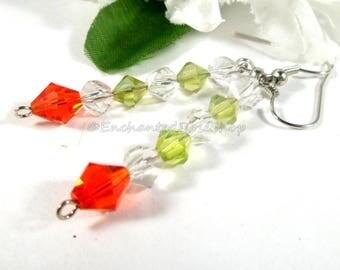 Swarovski Crystal Earrings, Christmas Earrings, Swarovski Earrings, Holiday Earrings, Christmas Jewelry, Womens Boho Chic Fashion Earrings
