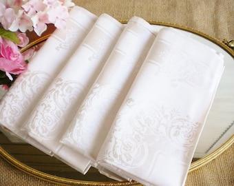 Blush Pink Damask Napkins Set Of 4/ Romantic Wedding Cloth Napkins/Special Occassion Napkins/Vintage Fancy Napkins/Tea Party/Shabby French/