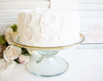 Vintage Wedding Glass Cake Stand With Gold Rim 8 Inch Art