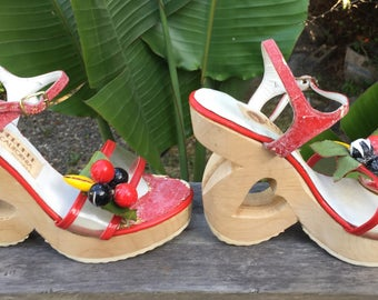 Cherokee of California wedge shoes, 1970's era, hard-to-find carved wooden platforms with heart cut-outs, fruit accents