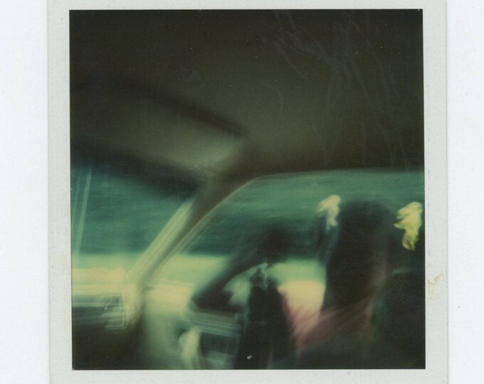 Vintage SX-70 Polaroid Snapshot Photo: Riding Shotgun (711621)