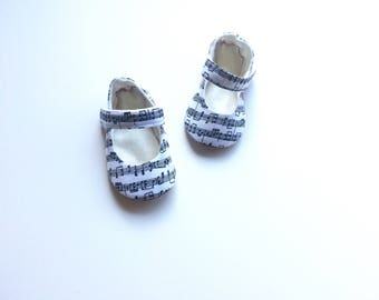 Baby Shoes Musical Baby Black and White Notes Mary Janes