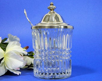 Crystal Jam Jar with Silverplate Lid plus Antique Rogers Silverplate Ohio Spoon