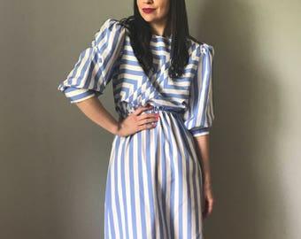 Vintage 80s Silky Blue + White Striped Day Dress
