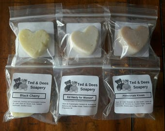 Homemade heart shaped trial, sample size soap. Choose a combination of any 6