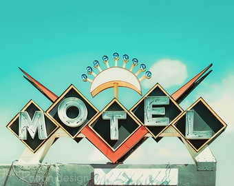 Neon Sign • Motel Sign Photo • Retro Motel • Sign Photography Print • Chevron Photo • Retro Art • Antique Sign • Vintage Sign