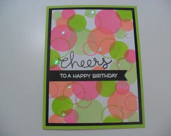 Birthday Card - Bokeh Card - Cheers to a Happy Birthday - BLANK Inside - Multiple Color Combinations Available