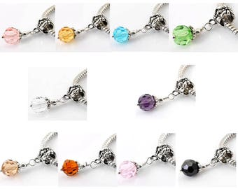 10 Pieces Mixed Crystal Glass European Style Large Hole Charm Dangle Beads