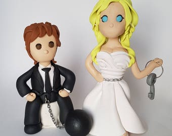 Bride and groom wedding cake topper ball and chain kink topper