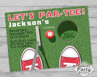 Golf Birthday Party Invite Invitation - Mini Golf Par-Tee Invite - Printable Personalized Customized 5x7 or 4x6
