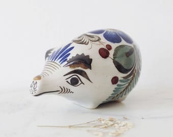 Vintage Mexican Ceramic Pig Hand Painted Piggy Bank Ornament