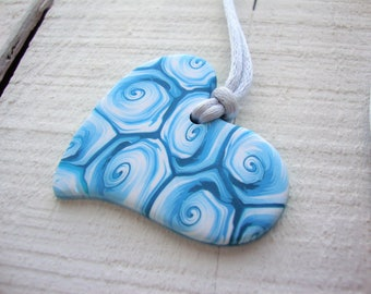 """Polymer clay heart""""abstract turquoise and white swirls"""" .   MADE TO ORDER"""