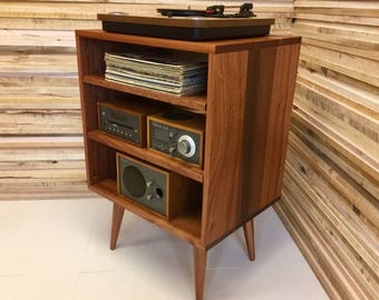 Micro Mid Century Modern Record Player Console, Turntable, Stereo Cabinet  With LP Album Storage