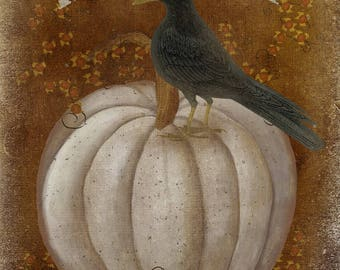 Crow and White Pumpkin Tag