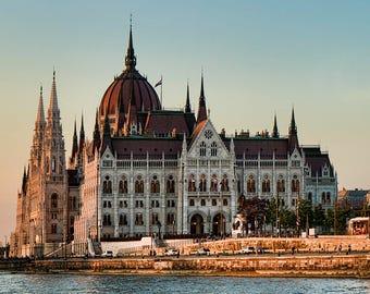 Budapest Parliament Sunset Gothic Architecture Urban Color Landmark City European Hungary Water River Danube Bridge Photographic  Print