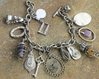 Artisan Assemblage Charm Bracelet--OOAK Eco-Friendly Upcycled