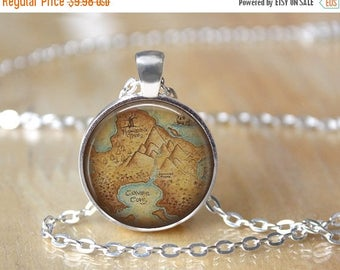 SUMMER SALE Peter Pan Necklace - Neverland Map Pendant - Book Necklace - Peter Pan Pendant - Glass Dome Necklace - Fairy Tale - Once upon a