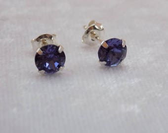 Sterling Silver and Swarovski Crystal Stud Earrings in Purple Tanzanite