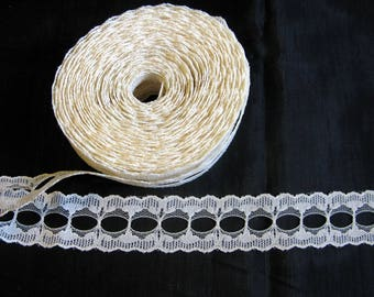 Insertion lace trim, cream ivory vintage trimming 7 yards
