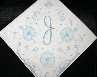 Bride Initial Handkerchief, Monogrammed Vintage, Initial D, F, A, P, N or J Something Old Blue, Wedding Hankies