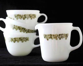 Pyrex Corning Crazy Daisy Spring Blossom Coffee Cups and Large Creamer Vintage 1960s Set of 4
