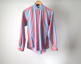 vintage RAINBOW pastel striped long sleeve fitted button up down SHIRT women's 90s vintage