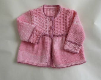 Pink hand knit baby cardigan, smock style sweater for baby girl, girl sweater 3 months, baby knitwear, knitted baby clothes