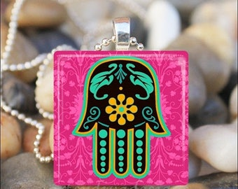 10% OFF JUNE SALE : Hamsa Hand Evil Eye Protection Charm Glass Tile Pendant Necklace Keyring