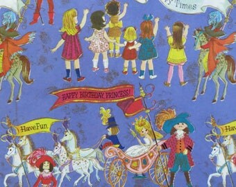 Vintage Rust Craft Juvenile GIRL Gift Wrap - Wrapping Paper - Happy Birthday PRINCESS - 1970s