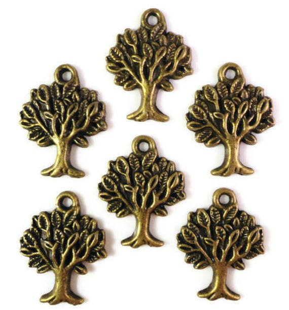 30pcs Bronze Tree Charms 22x17mm Antique Brass Tree Charms, Bronze Tree Pendants, Wholesale Charms, Bulk Metal Charms for Jewelry Making