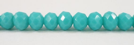 "Turquoise Crystal Beads 6x4mm (4x6mm) Opaque Blue-Green Crystal Rondelle Beads Chinese Crystal Glass Beads on an 8 1/2"" Strand with 49 Beads"