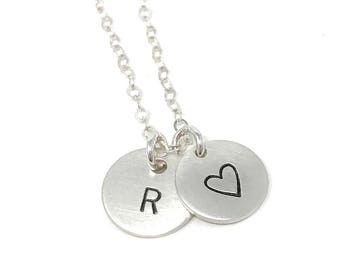 Heart and Initial stamped Necklace - Celebrity Inspired Jewelry - Delicate Initial Necklace