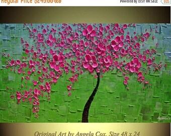 SALE Original  Modern  Pink Blossom  Tree  Impasto Painting Palette Knife  Fine Art landscape  Painting. Made2Order.