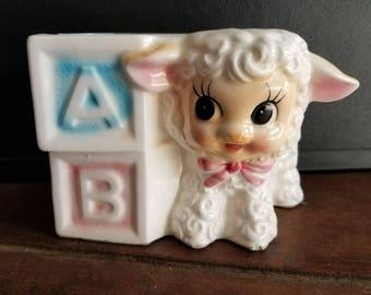Vintage Ceramic Baby Lamb ABC Block Planter Vase