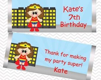 Wonder Women - Superhero - Personalized Candy Bar Wrapper, Birthday, Baby Shower