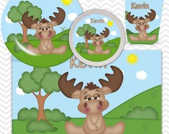 Moose Plate, Bowl, Cup, Placemat - Personalized Moose Dinnerware for Kids - Custom Tableware