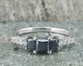 10K White Gold Three Stone Black Diamond w/White Diamond Accents Engagement Ring