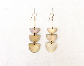 Triple Demi Half Circle Hammered Brass Earrings