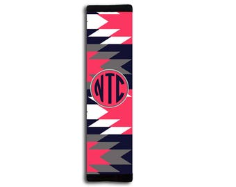 Aztec car decor, Navy blue and coral padded seat belt strap cover, Pink interior auto decoration, Monogrammed car accessories (1660)