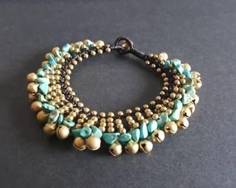 Bohemain  Brass  Turquoise Bracelet