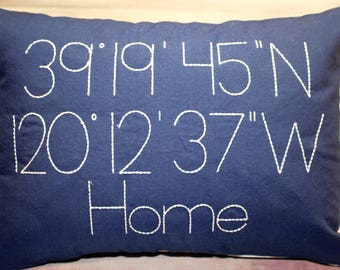 GPS Coordinates Pillow (Latitude and Longitude) Embroidered Vintage Farm House Style (New Home, Vacation, Honeymoon, Love, Anniversary)